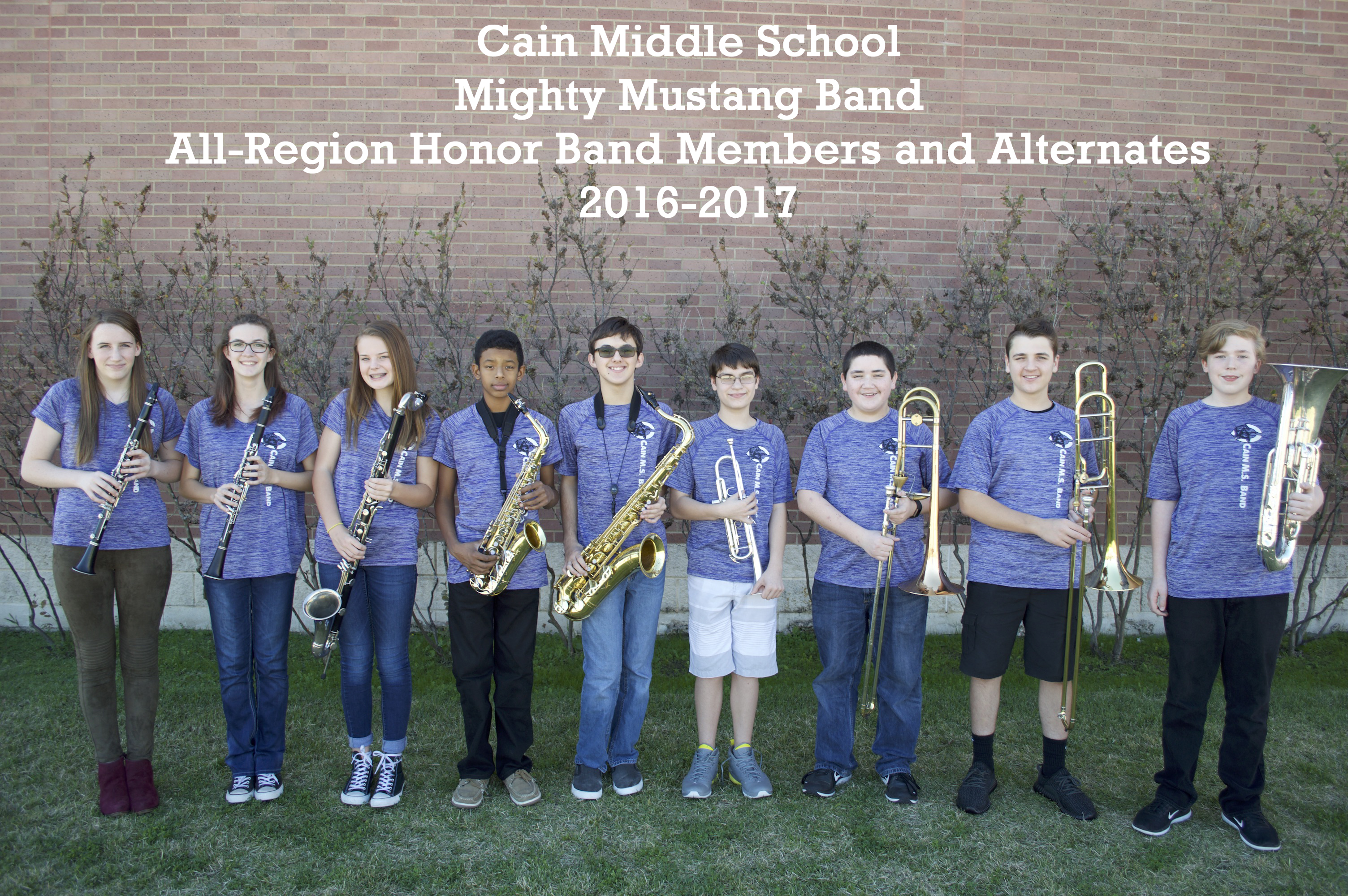 Cain MS All-Region Band Members 2016
