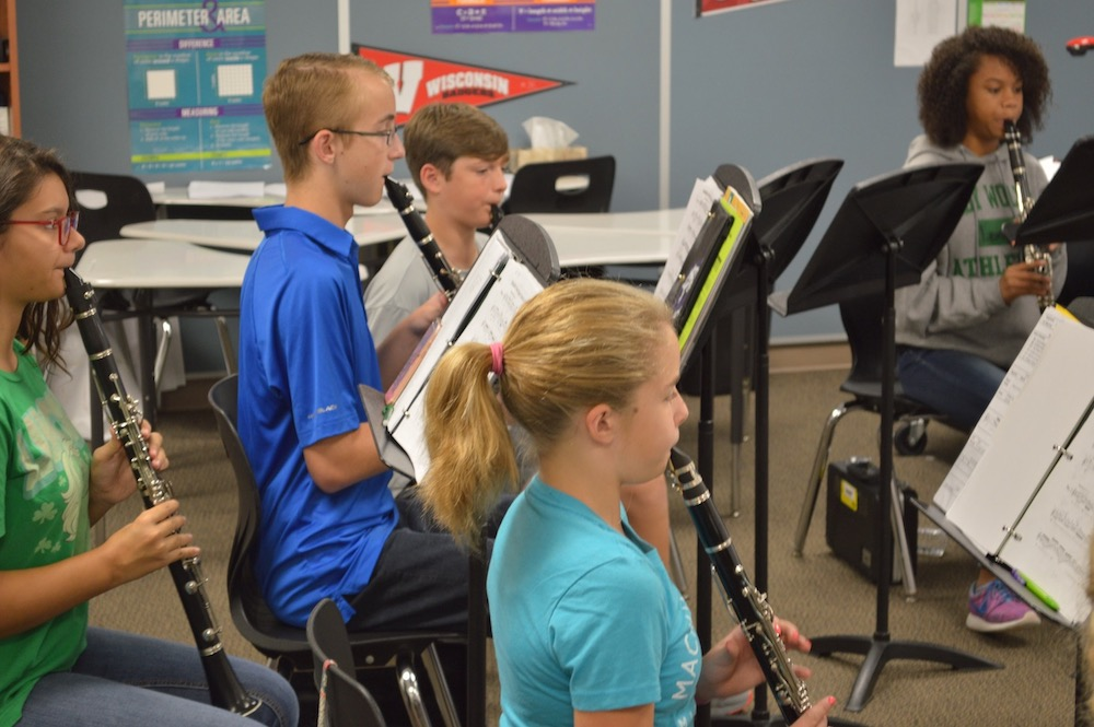 Band students learn from the pros