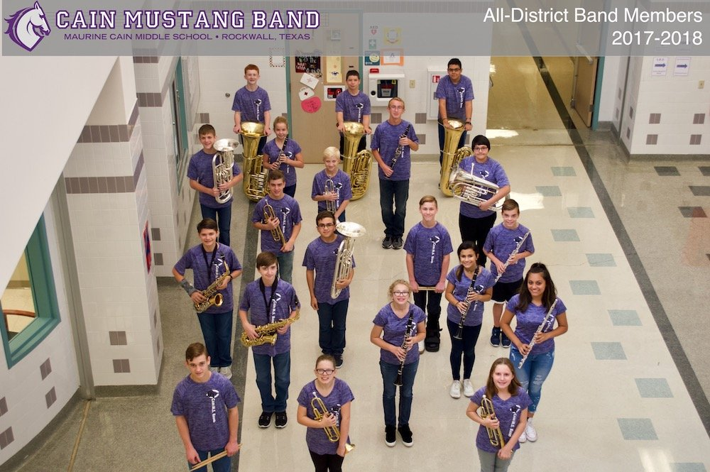 All-District Honor Band Members 2017-2018