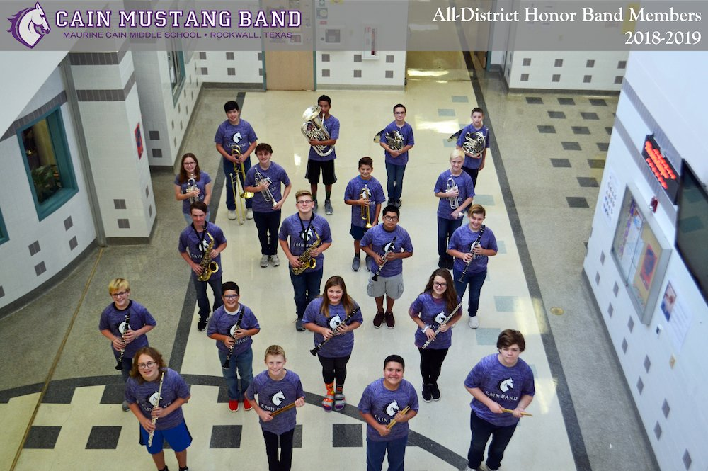 All-District Honor Band Members 2018-2019