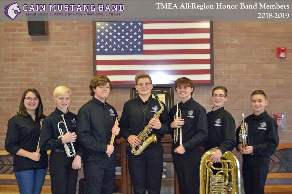 All-Region Honor Band Members 2018-2019